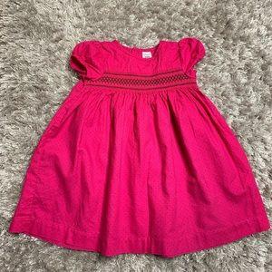 Carter's • pink and brown polka dot smocked dress